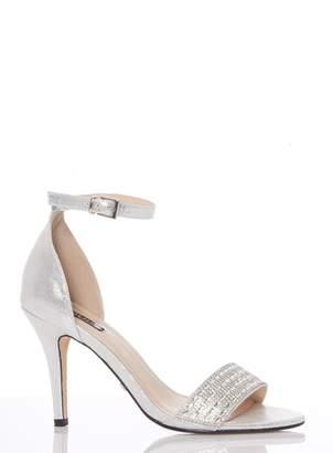 700ad26a0962 Dorothy Perkins Womens  Quiz Silver Diamante Strap Heel Sandals