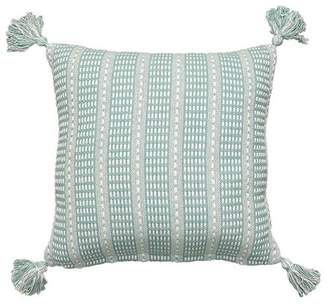 """LR Resources LR Home Teal Green Tassel Flynn 18"""" x 18"""" Indoor Square Hand - Crafted Decorative Throw Pillow"""