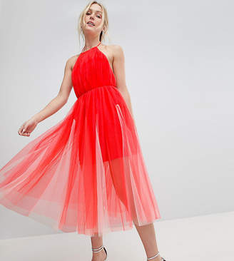 Asos Tall DESIGN Tall premium halter tulle godet midi dress