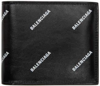 Balenciaga Black All Over Logo Wallet