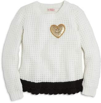 Design History Girls' Heart Patch Sweater