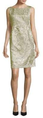 Lafayette 148 New York Faith Metallic Printed Boatneck Dress
