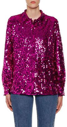 MSGM Sequin Long-Sleeve Shirt