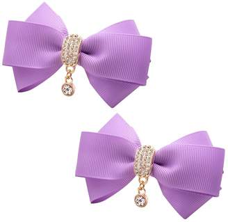 ZAKIA Women' Ribbon Bow Crystal Pendant Removable Shoe Clips Clutch Wedding Decoration Pack of 2