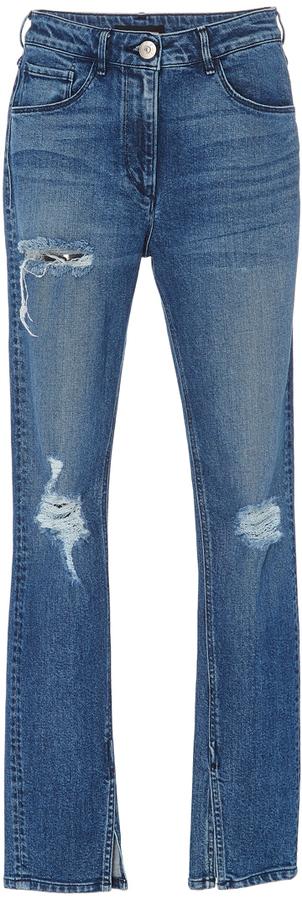 3x13X1 Distressed Split Seam Skinny Jeans