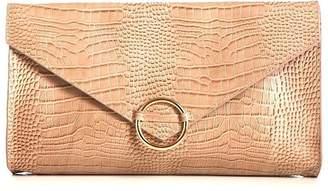 Athena Annie Diamantidis Crocodile Embossed Leather Clutch