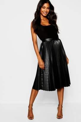boohoo Pleated Leather Look Midi Skirt