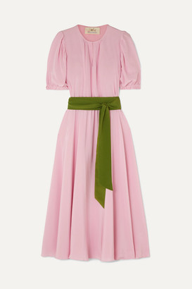 ARoss Girl x Soler Brooke Belted Silk Crepe De Chine Midi Dress - Blush