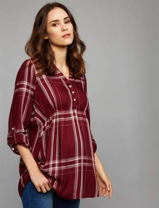 Luxe Essentials Denim Plaid Convertible Maternity Shirt