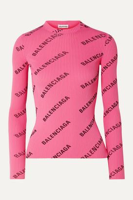 Balenciaga Printed Ribbed-knit Top - Pink