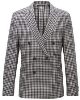 BOSS Hugo Checked Wool Double-Breasted Sport Coat, Slim Fit Nayler J 36R Grey