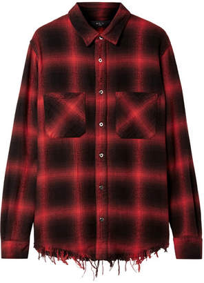 Amiri Frayed Cotton-flannel Shirt - Red