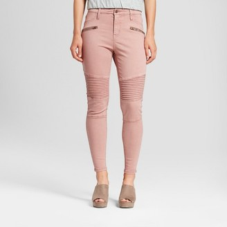 Mossimo Women's Jeans Utility Jeggings Moto With Zippers - Mossimo Pink $29.99 thestylecure.com