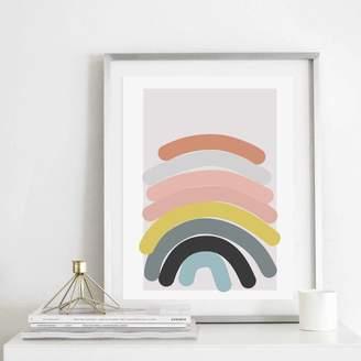 Print is the New Black Abstract Blue Rainbow Art Print