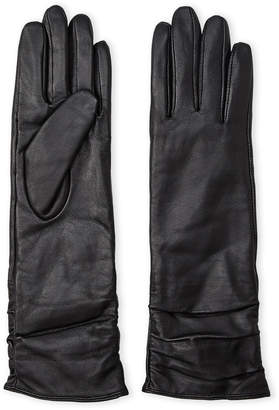 Adrienne Vittadini Ruched Long Leather Gloves