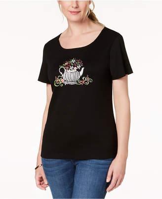 Karen Scott Cotton Tea-Pot Graphic T-Shirt, Created for Macy's