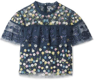 Needle & Thread Anglais Cropped Cape-effect Embellished Tulle Top - Storm blue