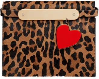 Edie Parker Candy Leopard-Print Fur Clutch Bag