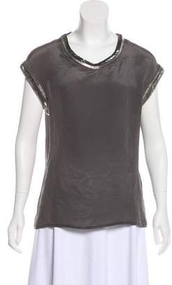 AllSaints Silk Beaded Blouse