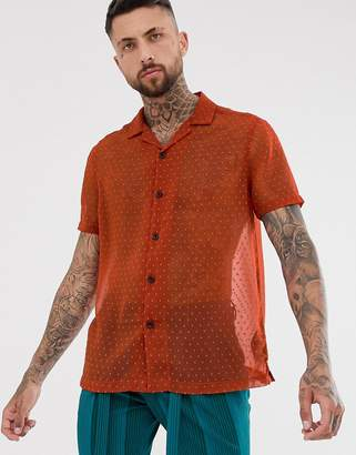 Asos Design DESIGN oversized sheer shirt with textured spot in rust