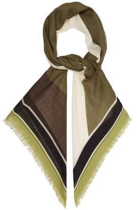 Loewe Puzzle Print Wool Scarf - Womens - Green