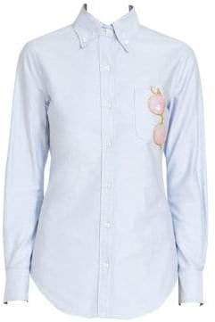 Thom Browne Women's Sequin Sunglasses Oxford Button-Down Shirt - Light Blue - Size 38 (2)