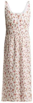 Emilia Wickstead Giovanna Floral Print Cotton Midi Dress - Womens - White Multi