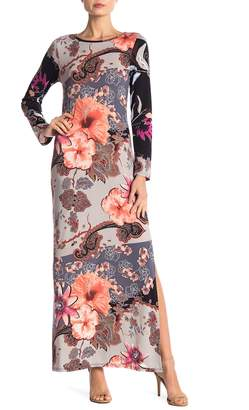 24/7 Comfort Floral Fantasy Long Sleeve Maxi Dress With Side Slits