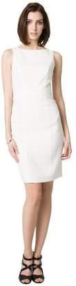 Le Château Women's Double Weave Belted Shift Dress,XXS