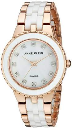 Anne Klein Women's AK/2712WTRG Diamond-Accented Rose Gold-Tone and White Ceramic Bracelet Watch