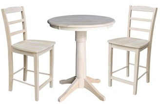 "INC International Concepts 30"" Round Top Pedestal Counter Height Table with 2 Madrid Stools - Unfinished - 3 Piece Set"