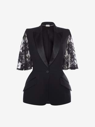 Alexander McQueen Cape Lace Sleeve Jacket