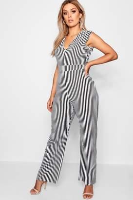 boohoo Plus Stripe Plunge Jumpsuit