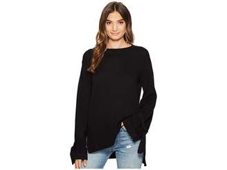 1 STATE 1.STATE Long Sleeve Crewneck Sweater w/ Sleeves Cuff Ties Women's Sweater