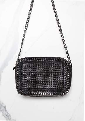 8f3ebf0d62d7 Missy Empire Missyempire Wren Black Chain Trim Cross Body Bag