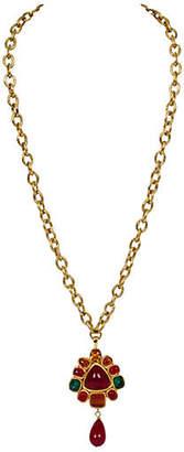 One Kings Lane Vintage Chanel Gripoix Drop Pendant Necklace - Vintage Lux