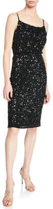 Parker Leighton Sequin Cowl-Neck Sleeveless Cocktail Dress