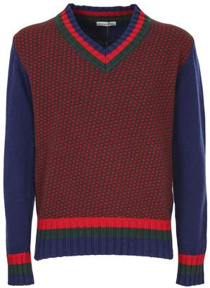 Etro mixed wool and cashemre sweater, red, green and blue, V-neck a rib, armholes a ribbed, ribbed hem, spotted motif and striped borders