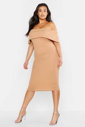 boohoo Plus Off Shoulder Rib Midi Dress