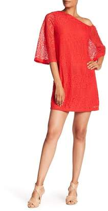 Laundry by Shelli Segal Off-Shoulder Sheer Lace Dress