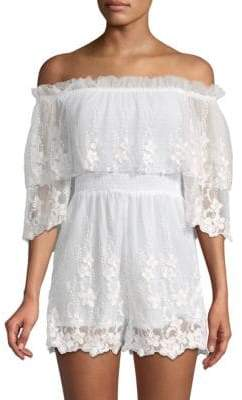 Kas Off-The-Shoulder Lace Romper
