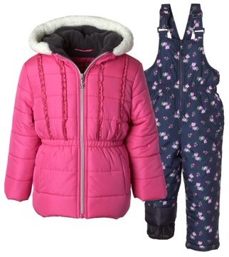 Pink Platinum Floral Print Polar Fleece Lined Jacket and Snowbib, 2-Piece Set (Little Girls)