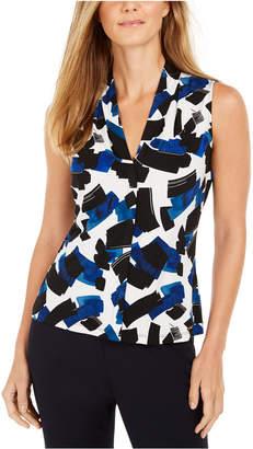 Calvin Klein Sleeveless Printed Pleated-Neck Top