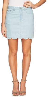 CeCe Scalloped Hem Denim Skirt