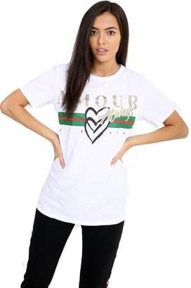 Momo&Ayat Fashions Ladies Amour Always Slogan Printed T Shirt UK Size 8-14 (M/L (UK 12-14), )