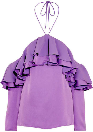 Emilio Pucci - Off-the-shoulder Ruffled Satin And Crepe Blouse - Lilac