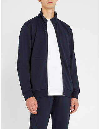 HUGO Stand collar stretch-cotton jersey jacket