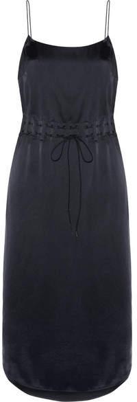 DKNY - Gathered Satin Slip Dress - Navy