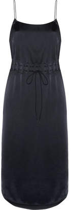 DKNY Gathered Satin Slip Dress - Navy