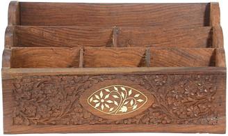 One Kings Lane Vintage Carved Wood & Bone Letter Holder - Design Line